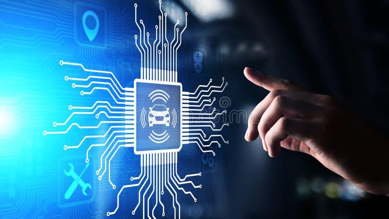 Slimme auto IOT en het moderne concept van de automatiseringstechnologie op het virtuele scherm stock afbeeldingen