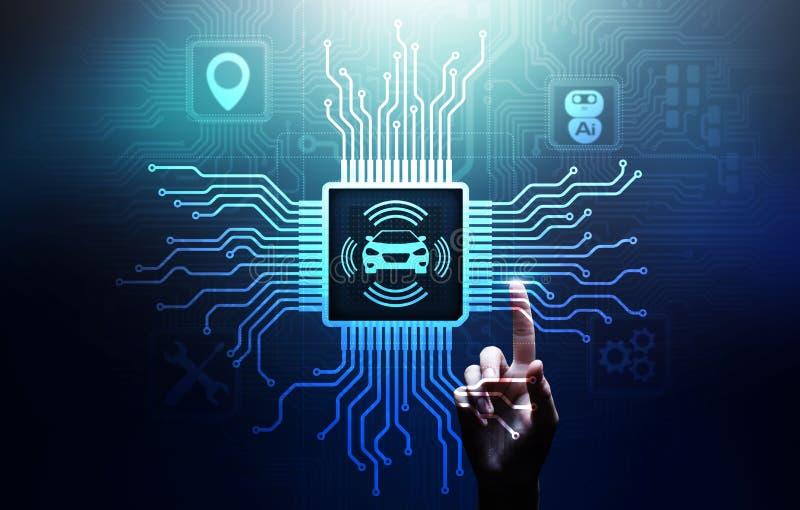 Slimme auto IOT en het moderne concept van de automatiseringstechnologie op het virtuele scherm stock fotografie