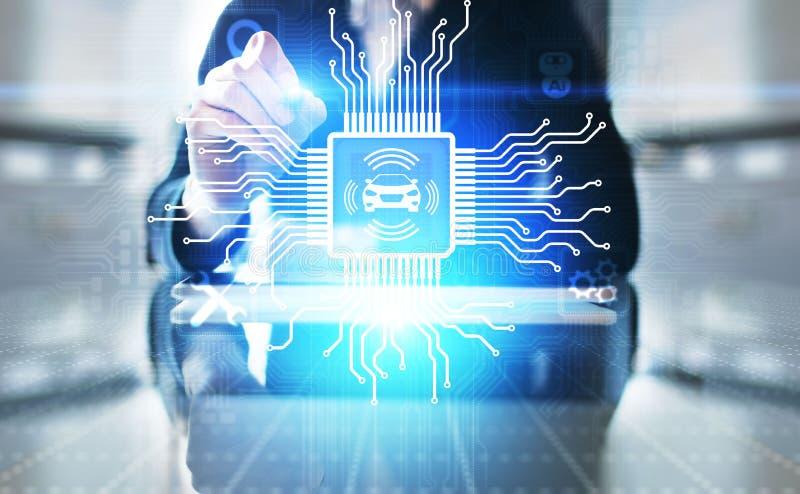 Slimme auto IOT en het moderne concept van de automatiseringstechnologie op het virtuele scherm stock afbeelding