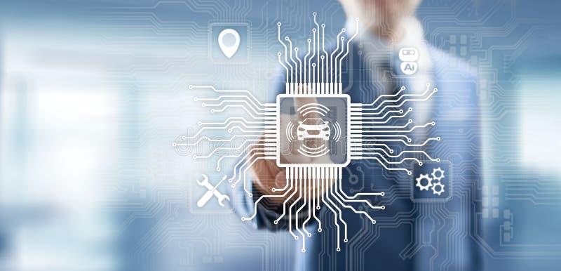 Slimme auto IOT en het moderne concept van de automatiseringstechnologie op het virtuele scherm royalty-vrije stock afbeeldingen