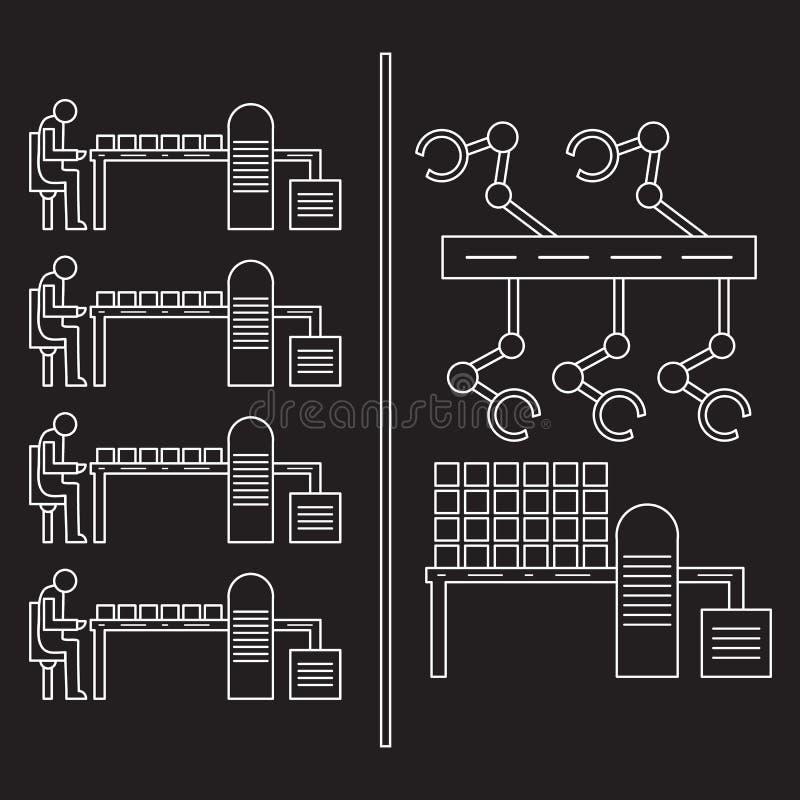 Slimme automatische robotachtige productielijn royalty-vrije illustratie