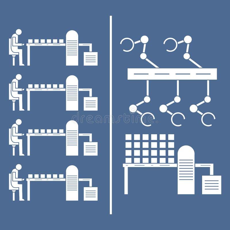 Slimme automatische robotachtige productielijn stock illustratie