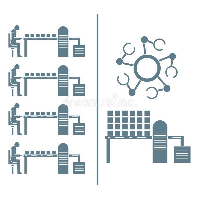 Slimme automatische robotachtige productielijn vector illustratie