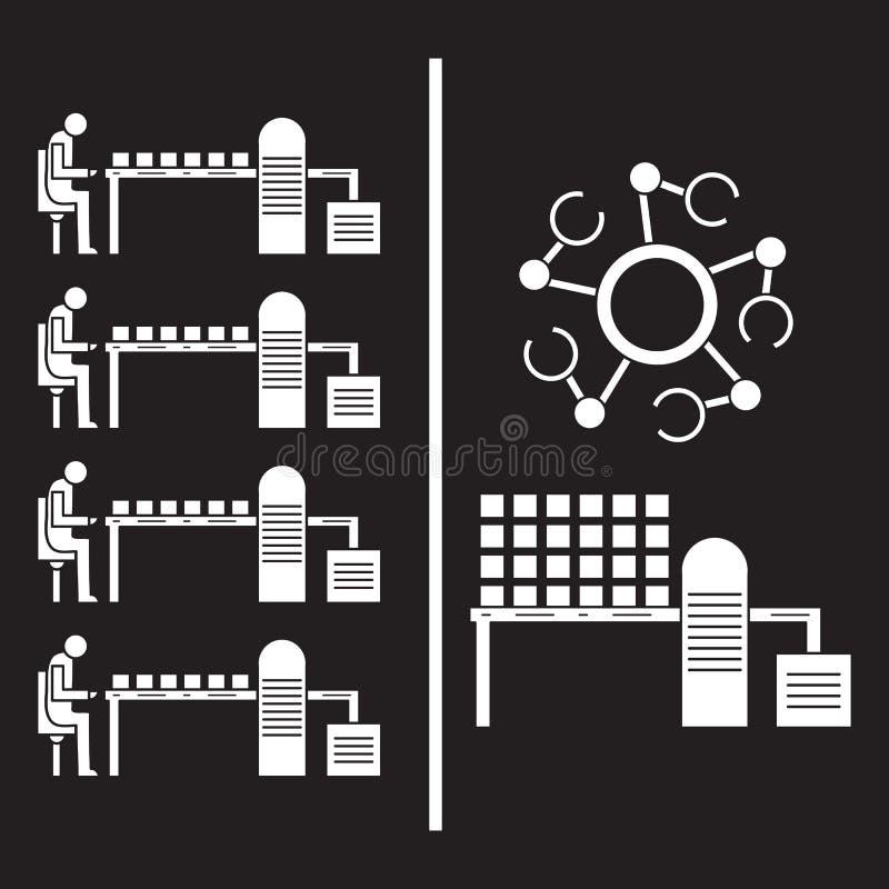 Slimme automatische robotachtige productielijn Vervanging van mensen met robotachtige mechanismen op de transportband Ontwikkelin vector illustratie