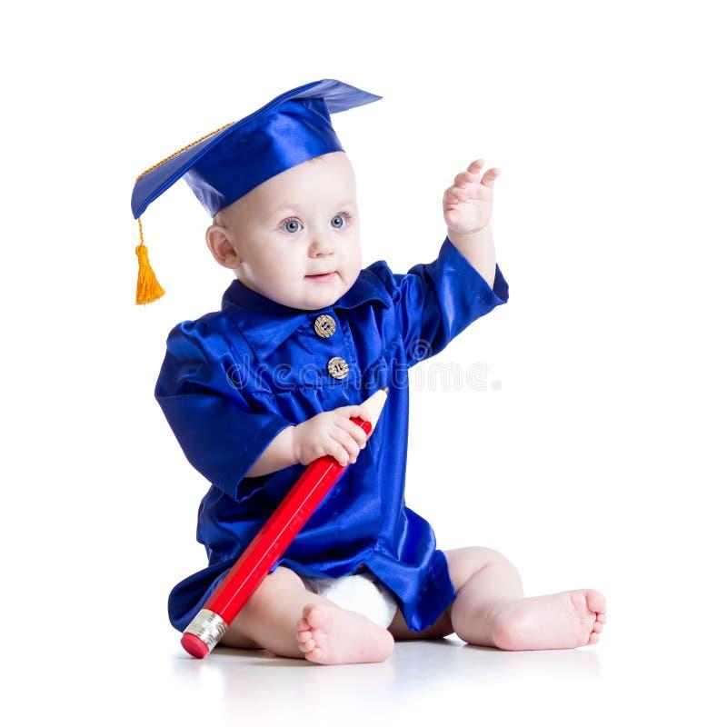 Slimme baby in academicuskleren stock afbeeldingen