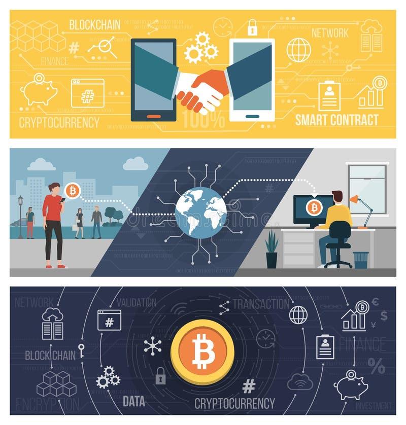 Slimme contracten, bitcoin overdracht en cryptocurrency royalty-vrije illustratie
