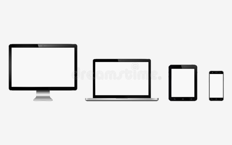 Slimme digitale apparatenreeks Computermonitor, laptop, tablet, mobiele telefoon vector illustratie