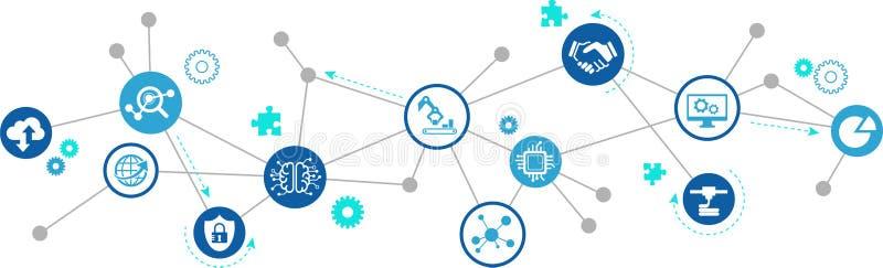 Slimme fabriek, de slimme industrie, iot concept: grote gegevens/wolkenoplossingen/innovatieve productie/simulatie royalty-vrije illustratie