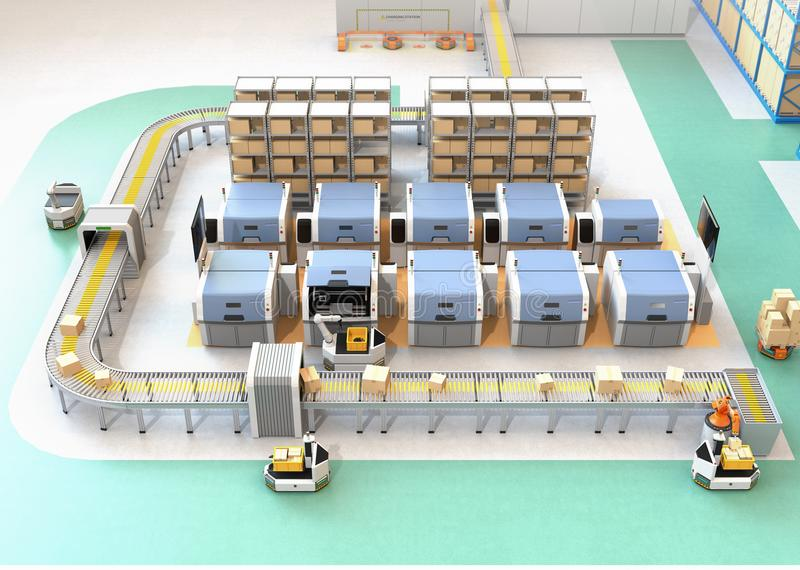 Slimme fabriek die met AGV, robotdrager, 3D printers en robotachtig het plukken systeem wordt uitgerust vector illustratie