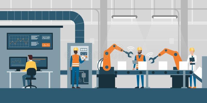Slimme fabriek en productielijn vector illustratie
