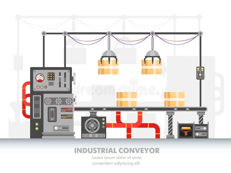 Slimme fabrieks horizontale riem of robotachtige transportband stock illustratie
