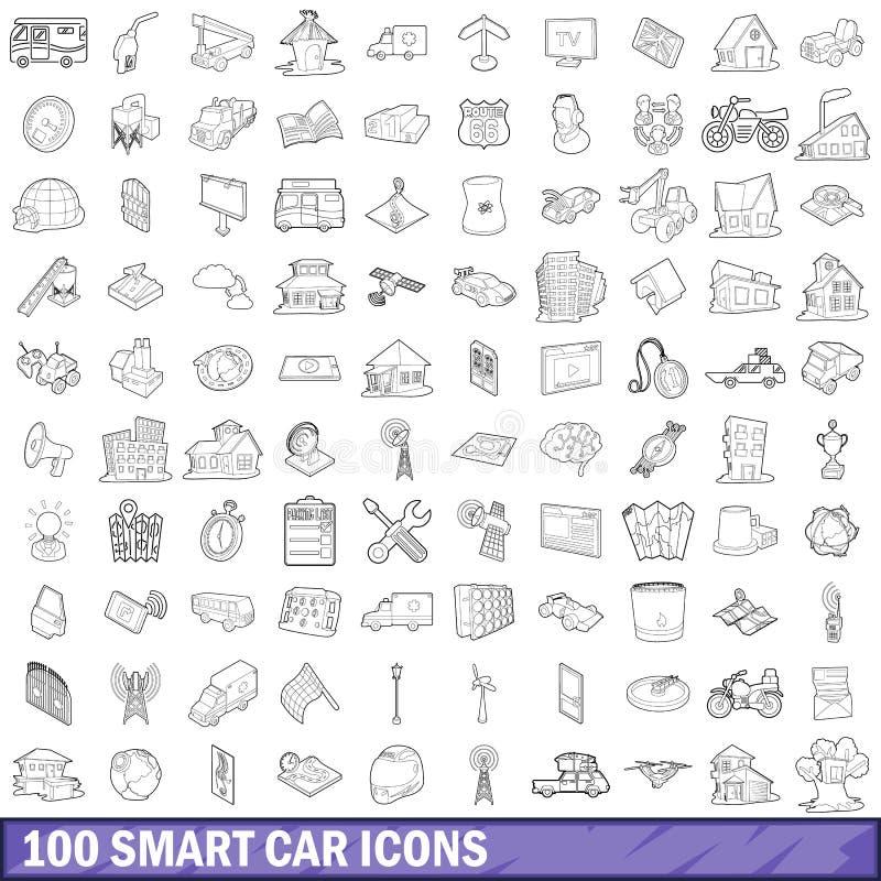 100 slimme geplaatste autopictogrammen, schetsen stijl royalty-vrije illustratie