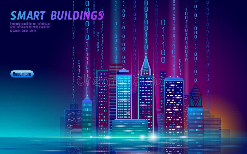 Slimme gloeiende cityscape van het stads 3D neon Intelligent de nacht futuristisch van de de bedrijfs bouwautomatisering concept  stock illustratie