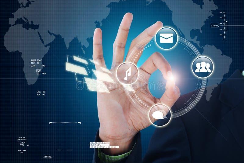 Slimme hand die futuristische technologie tonen stock illustratie