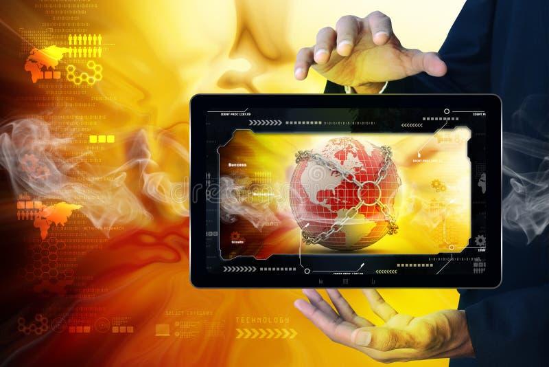 Slimme hand die futuristische technologie tonen stock foto