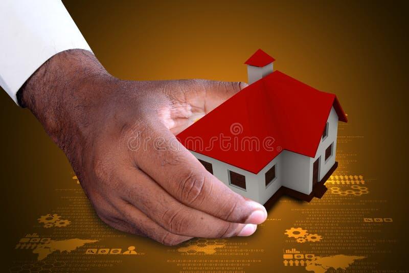 Slimme hand die huis tonen royalty-vrije illustratie