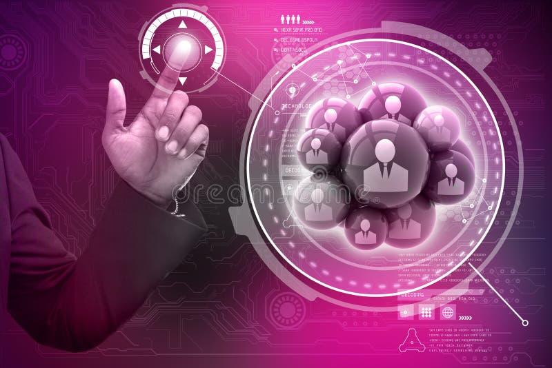 Slimme hand die sociale voorzien van een netwerkbellen tonen stock illustratie