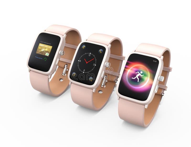 Slimme horloges met roze die leermanchet op witte achtergrond wordt geïsoleerd stock foto's