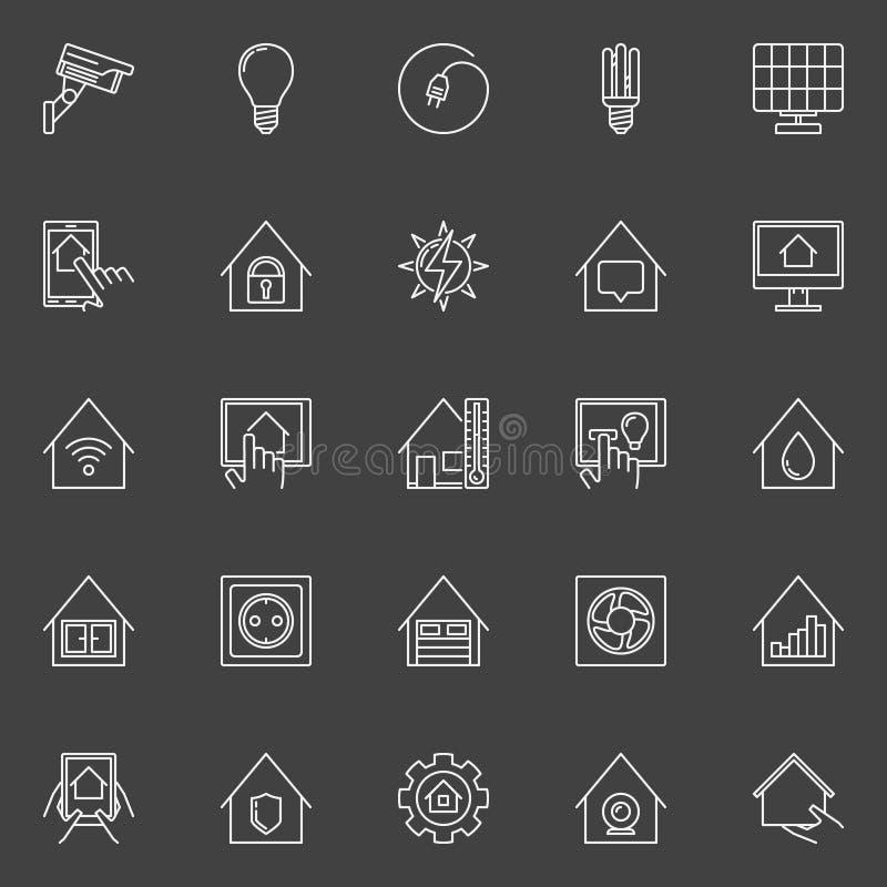 Slimme huis lineaire pictogrammen vector illustratie