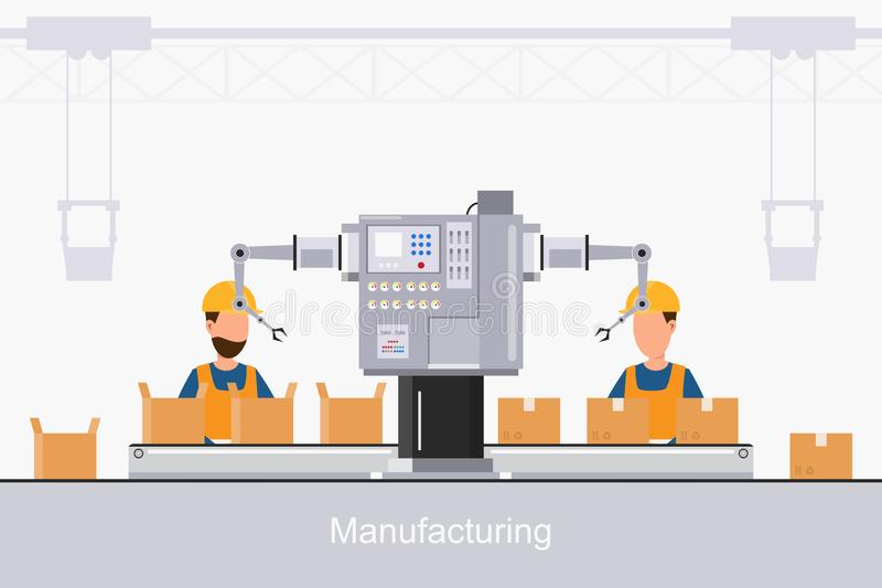 Slimme industri?le fabriek in een vlakke stijl met arbeiders, robots en lopende bandverpakking royalty-vrije illustratie