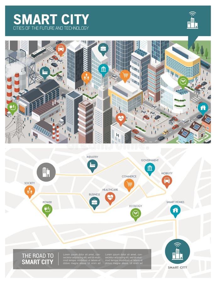 Slimme infographic stad royalty-vrije illustratie