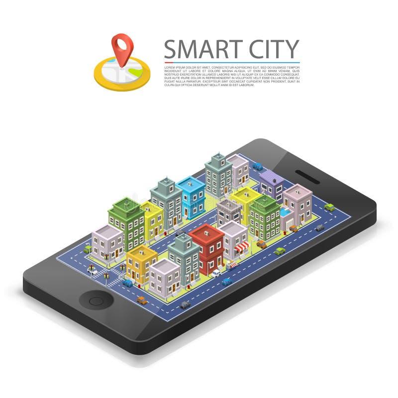 Slimme isometrische stad, app apparatenteken, voorwerp op een witte achtergrond, Vectorillustratie stock illustratie