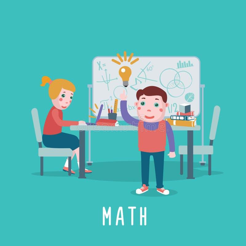 Slimme kinderen De jonge geitjes bestuderen wiskunde in een klaslokaal stock illustratie
