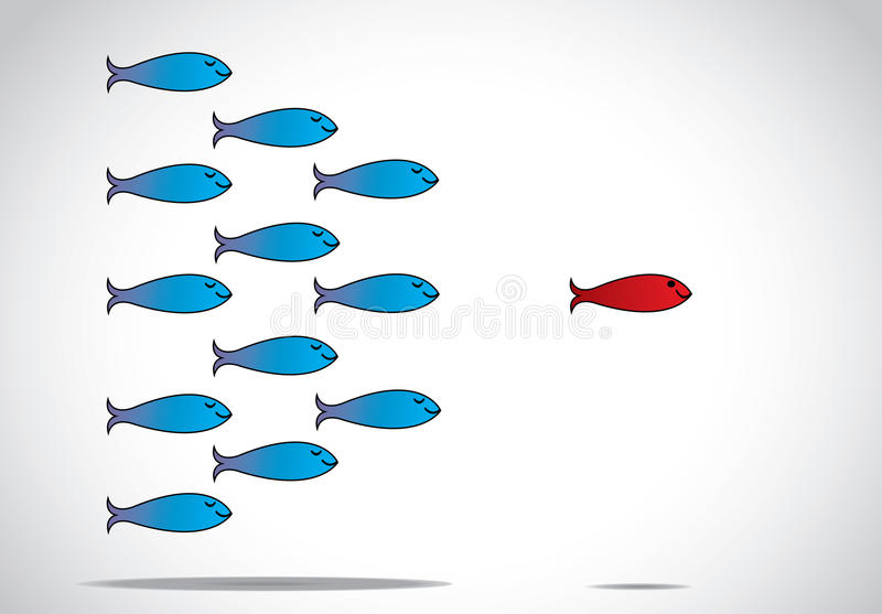 Slimme leiding en gelukkige groep vissen na leider met gesloten ogen - conceptontwerpillustratie het inspireren leider royalty-vrije illustratie