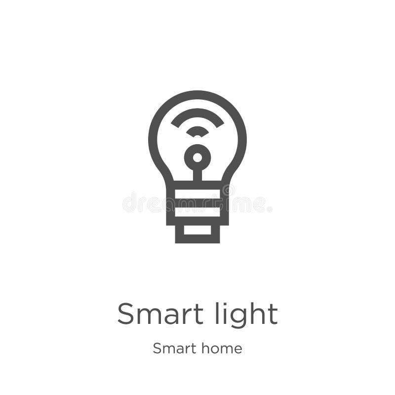 slimme lichte pictogramvector van slimme huisinzameling Dunne het pictogram vectorillustratie van het lijn slimme lichte overzich stock illustratie
