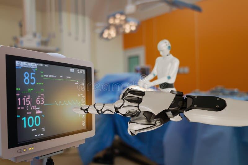 Slimme medische technologie, geavanceerde robotische chirurgische machine in het ziekenhuis, robotische chirurgie zijn precisie,  royalty-vrije stock afbeeldingen