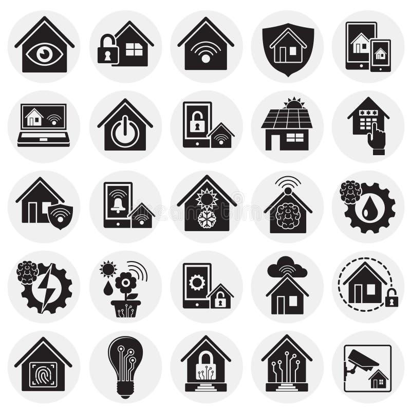 Slimme naar huis verwante die pictogrammen op cirkelsachtergrond worden geplaatst voor grafisch en Webontwerp Eenvoudig vectortek royalty-vrije illustratie