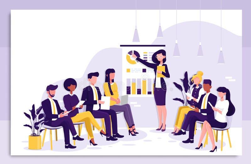Slimme onderneemster die een presentatie geven aan collega's tijdens binnenshuis bedrijfs opleiding die aan grafieken richten en stock illustratie
