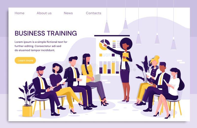 Slimme onderneemster die een presentatie geven aan collega's tijdens binnenshuis bedrijfs opleiding die aan grafieken richten en vector illustratie
