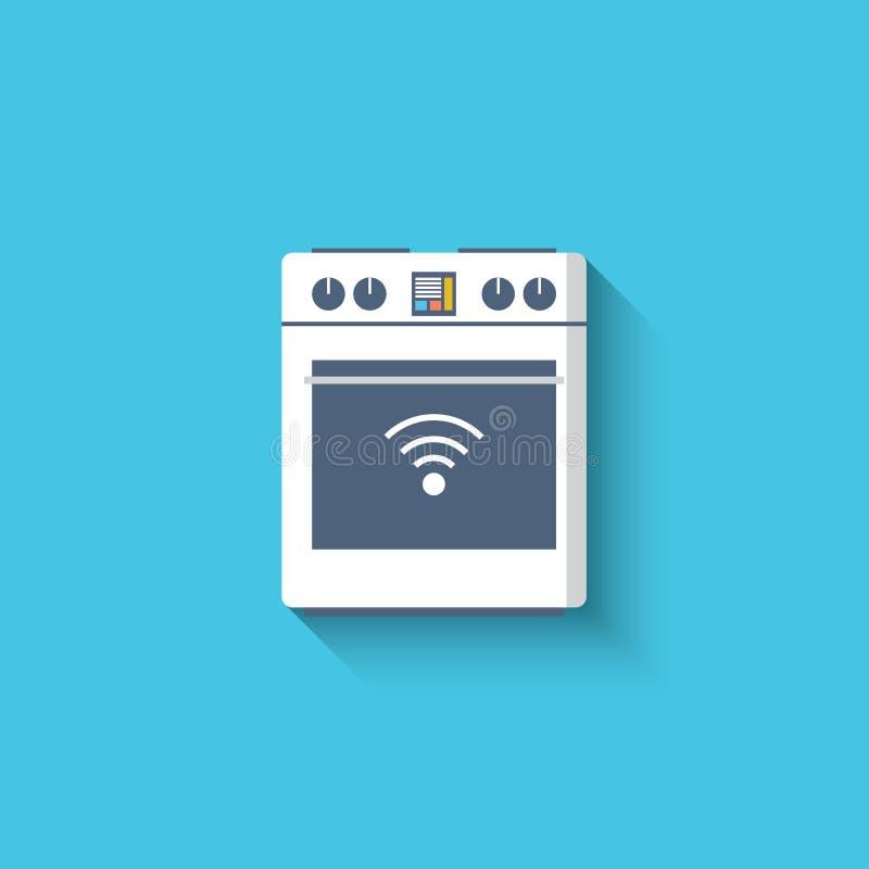 Slimme oven, kooktoestel, fornuispictogram Slimme keuken vector illustratie