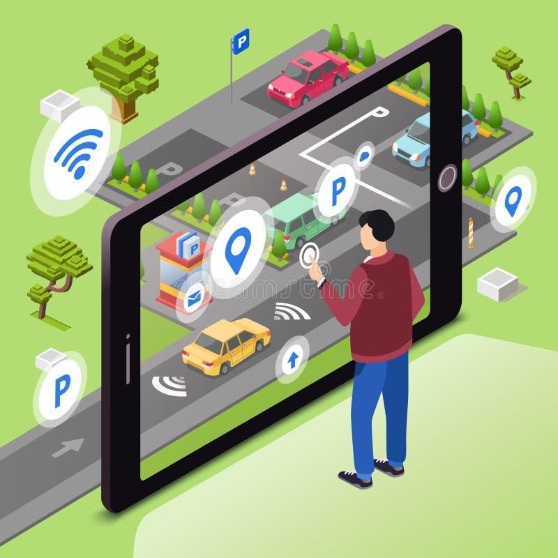 Slimme parkeren vectorillustratie van draadloze smartphoneapp technologie royalty-vrije illustratie