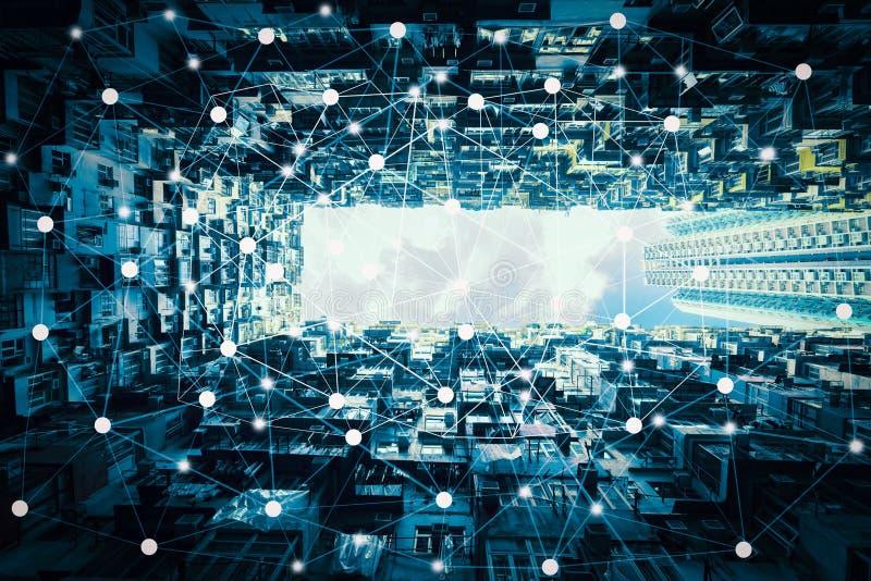Slimme stad en draadloos communicatienetwerk, abstract visueel beeld stock afbeeldingen