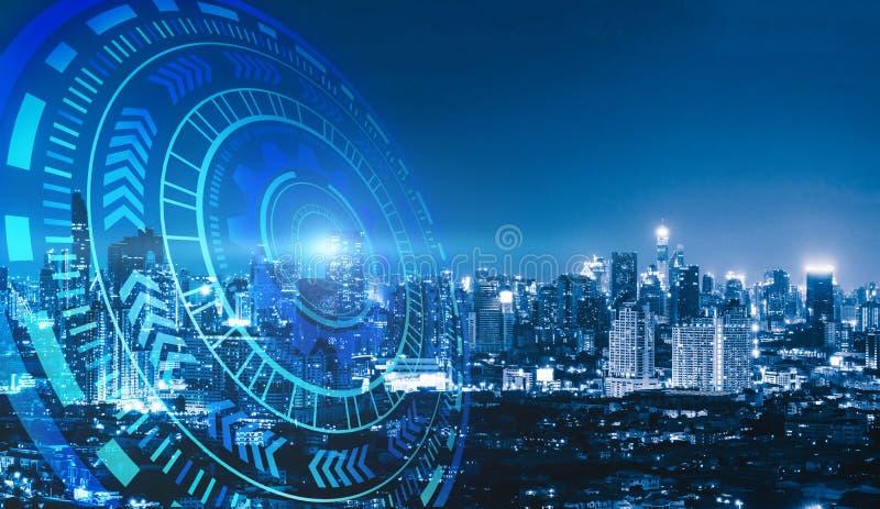 Slimme stad en technologiecirkels Grafisch ontwerp in Bangkok royalty-vrije stock afbeelding
