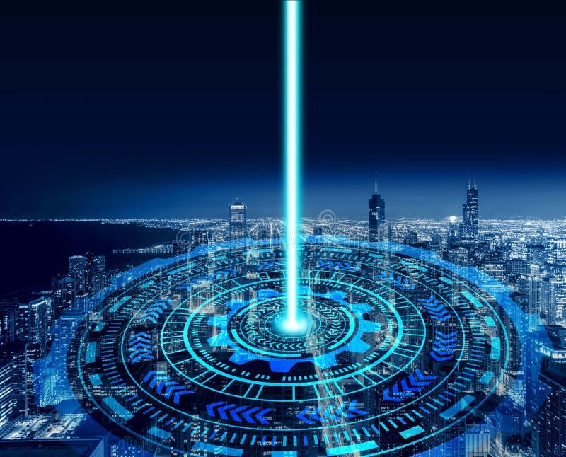 Slimme stad en technologiecirkels Grafisch ontwerp in Chicago stock foto