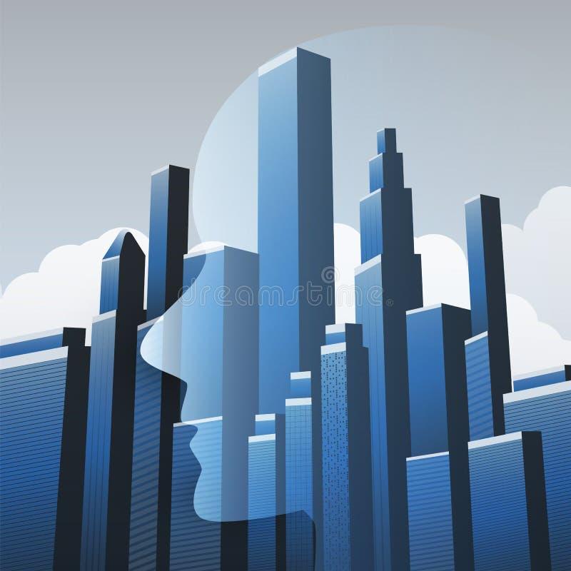 Slimme Stad, Geautomatiseerde Digitale Controle, diep het Leren, Kunstmatige intelligentie en Toekomstig TechnologieConceptontwer royalty-vrije illustratie