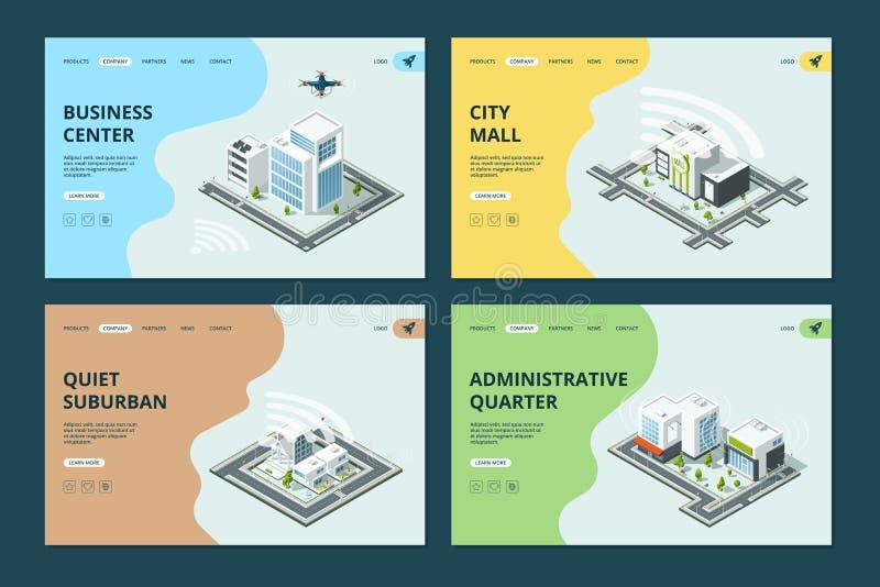 Slimme stad Het malplaatje van websitelandingspagina's met het isometrische stedelijke vectorontwerp van de landschappenarchitect royalty-vrije illustratie