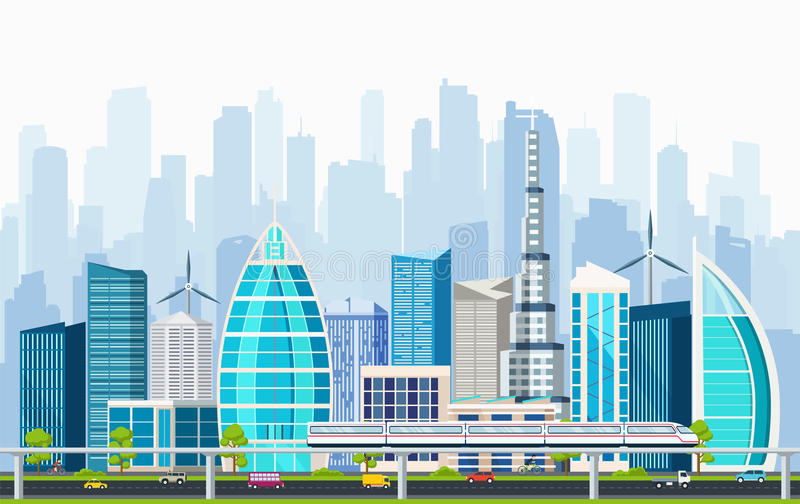 Slimme stad met grote moderne gebouwen en vervoeruitwisseling stock illustratie