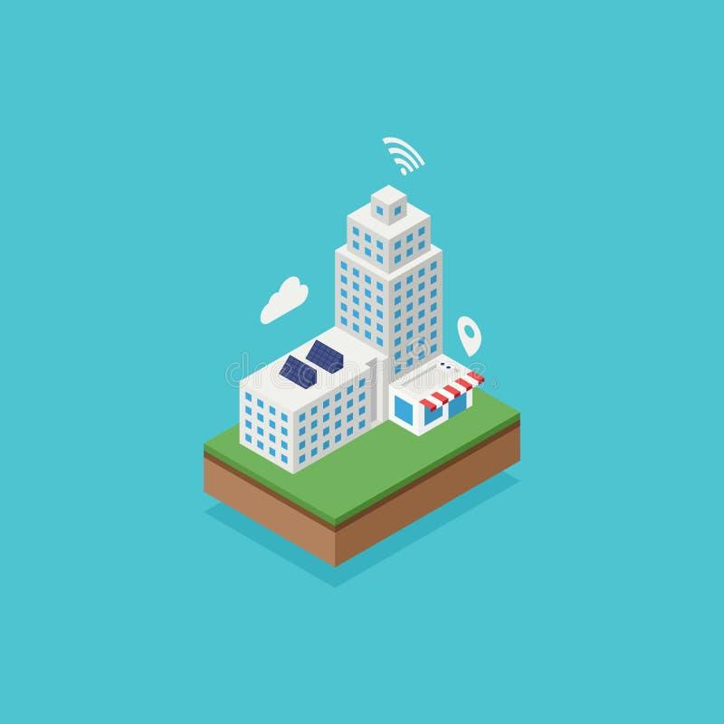 Slimme stad met Internet-het concept van de netwerkverbinding royalty-vrije illustratie