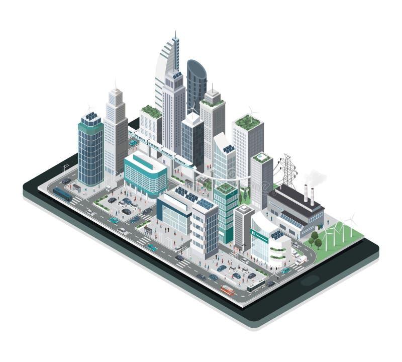 Slimme stad op een smartphone vector illustratie