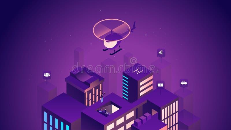 Slimme stads isometrische illustratie Intelligente gebouwen Internet van dingenconcept Commercieel centrum met wolkenkrabbers vector illustratie
