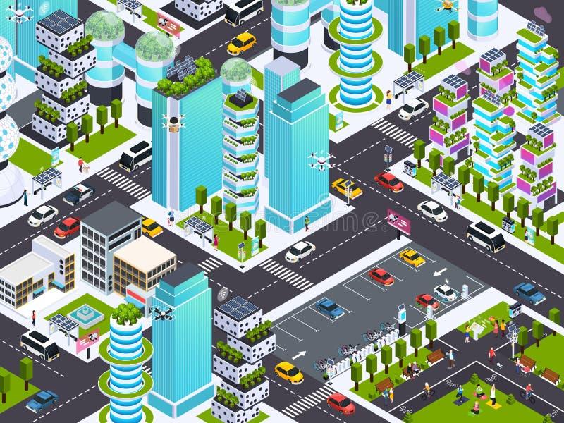 Slimme stadsachtergrond vector illustratie