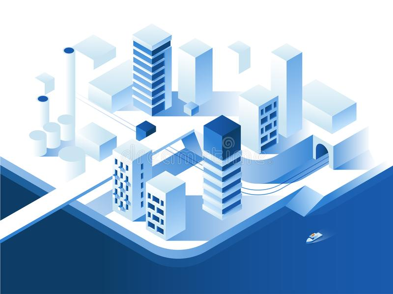 Slimme stadstechnologie Eenvoudige lage polyarchitectuur 3d vector isometrische illustratie stock illustratie