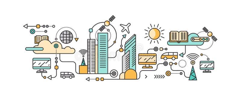 Slimme technologie in infrastructuur van de stad stock illustratie