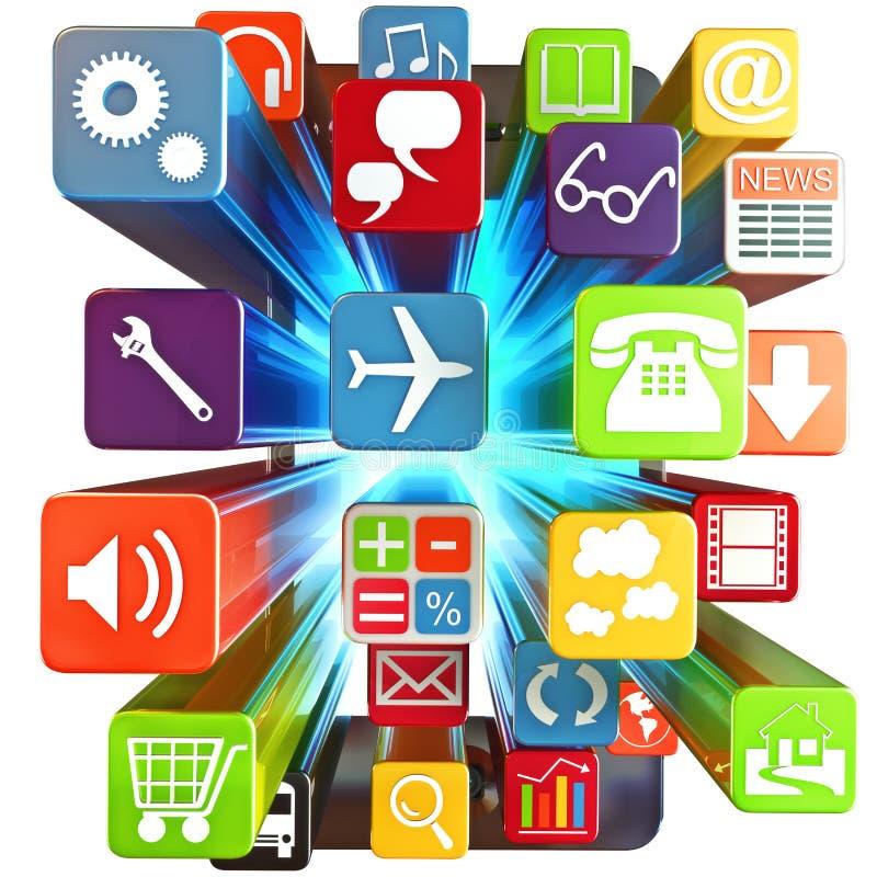 Slimme telefoon apps vector illustratie