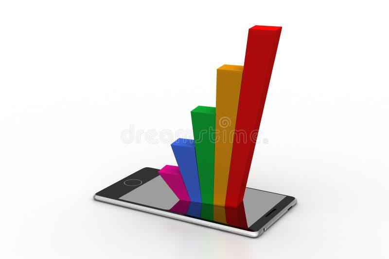 Slimme telefoon die de bedrijfsgrafiek tonen royalty-vrije illustratie