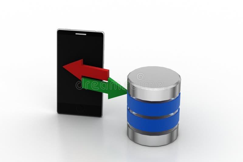 Slimme telefoon die gegevens delen aan server stock illustratie